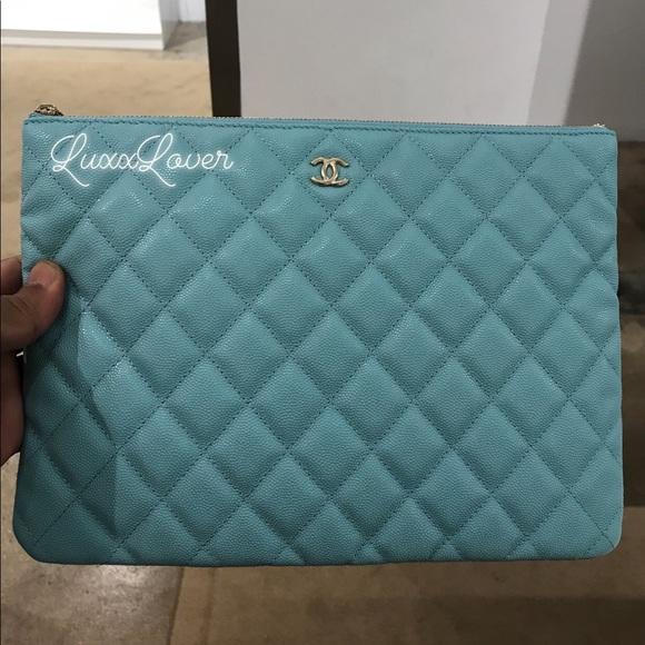 58ff022d77c5 CHANEL Bags | Auth 19c Blue Cav Medium O Case Pouch Ghw | Poshmark